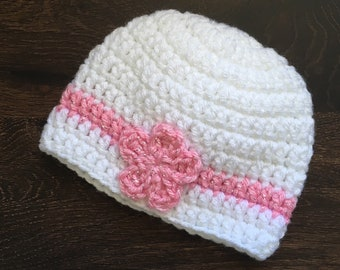 White and Pink Crochet Flower Hat (newborn)