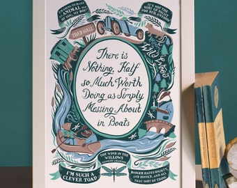 Wind In The Willows, Famous Quotes Print - Nursery print - Nursery decor - Childrens art - Childrens book