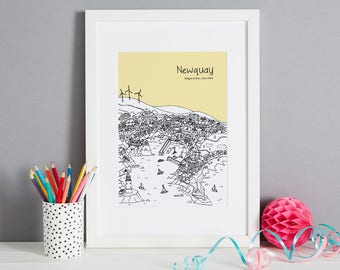Personalised Newquay Print | Unique Wedding Gift | Engagemtn Gift | Newquay Gift | Newquay Picture | First Anniversary Gift