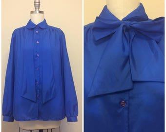 Vintage 70s Lady Arrow Secretary Blouse | 1970s Polyester Royal Blue Long Sleeve Top