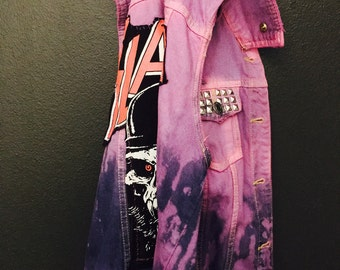 Pink/Purple Ombre Studded Denim Vest with Slayer Backpatch, Studs, Patch & Buttons