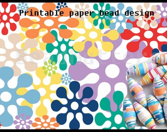 Paper bead printable design, spring pantone, instant download, make your own paper beads, paper beading sheet, rainbow colours.