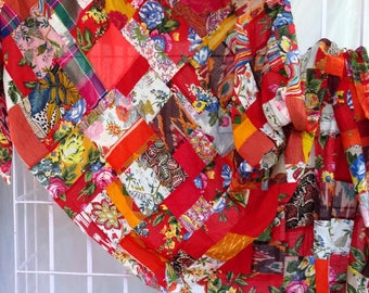 PATCHWORK - AKKA, red and multicolored cotton sold by the yard