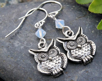 Owl & Opal Moon earrings - antiqued pewter owl under Swarovski white opal crystals - sterling silver earring hooks - free shipping USA