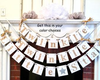 Twinkle Twinkle Little Star Baby Shower Decoration  - Gold Star Birthday Garland - Baby Shower Decor- Nursery Decor - Twinkle Little Star