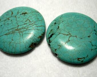 Blue Magnesite Flat Round Focal 35mm Beads (Qty 2) - B3586