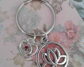 Lotus flower keyring with purple crystal heart tibetan silver keychain bag charm
