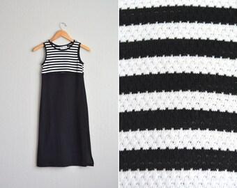 15 DOLLAR SALE! // Size Youth 8 // STRIPED Tank Dress // Black & White - Sleeveless - Knit - Vintage '90s.