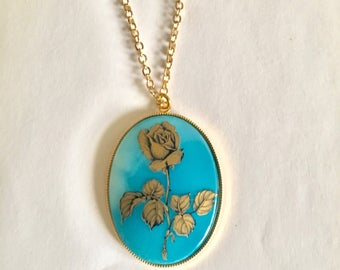 Vintage Gold and Blue Rose Necklace, Cameo Necklace, Gold and Blue Necklace