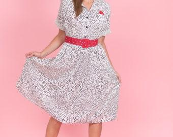 Vintage Black And White Polka Dot Shirt Waist Dress (Size Medium/Large)