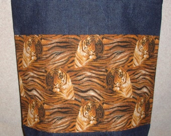 New Handmade Large Denim Tote Shopping Bag Tigers Theme