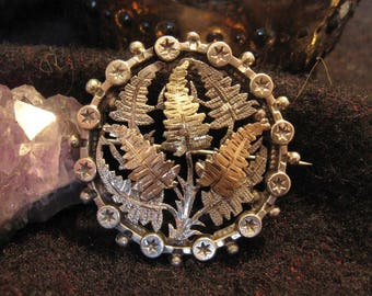 Antique Silver, Gold and Rose Gold Fern Brooch