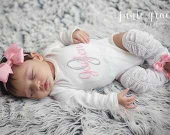 Baby Girl Clothes Baby Girl Coming Home Outfit Newborn Baby Girl Outfit Baby Girl Gift Monogrammed Baby Girl Outfit Baby Girl Leg Warmers
