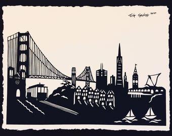 SAN FRANCISCO Papercut - Hand-Cut Silhouette