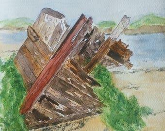 Stranded, old boat, wreck,