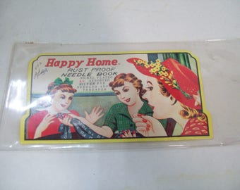 Vintage Happy Home Needle Book Gold Eye Needles and Threader Ladies Sewing Set A