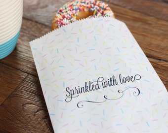 Sprinkled with Love Bridal or Baby Shower Favor bag. 20 White Favor Bags. Baby love. Wedding. Favors