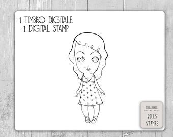 Vintage Girl Digital Stamp for Scrapbooking for Invite, Album, Decorations. PNG file, size 28 cm, Printable, Illustration to Print and Color
