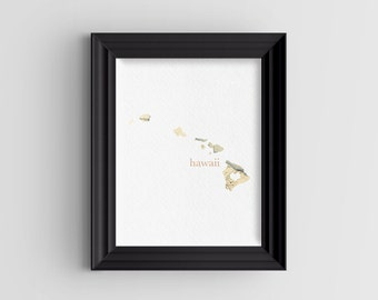 """Hawaii State Digital Art Print - INSTANT DOWNLOAD - Vintage Map - 8"""" x 10"""" and 5"""" x 7"""""""