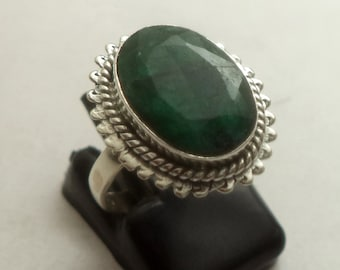 Emerald ring,sterling silver ring, statement ring