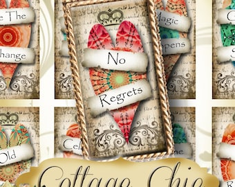 COTTAGE CHIC•1x2 Heart Quotes Images•Printable Digital Images•Cards•Gift Tags•Stickers•Magnets•Digital Collage Sheet