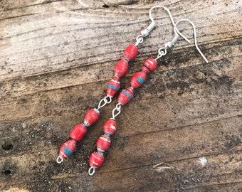 Long Red Paper Bead Earrings