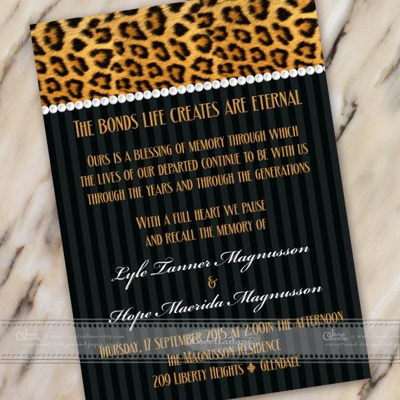 celebration of life invitations, cheetah celebration of life invitations, cheetah wedding invitations, cheetah retirement invitations, IN445