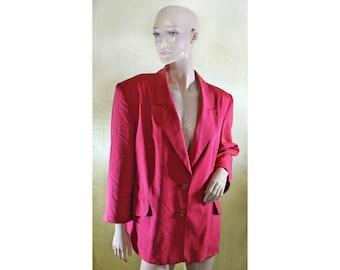 Vintage Norma Creation women blazer red pink jacket 100% silk