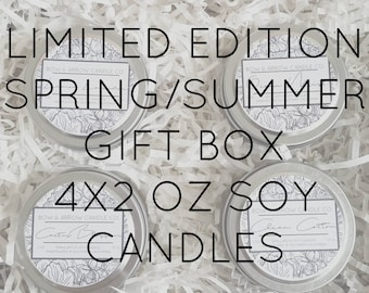 Pick Four 4 oz Spring & Summer Soy Candle Tins Gift Box   Bulk Soy Candle   Scented Soy Candles   Candle Gift Set   Gift Idea   Soy Candles