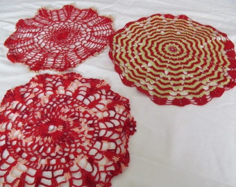 Crochet Doily Lot of 3, Vintage Handmade Doilies