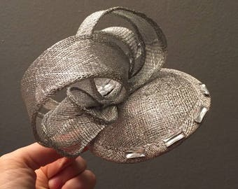 Silver Sinamay Fascinator with Diamonte Detail