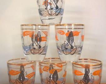 Set of 6 shot glasses retro pattern orange black gold abstract atomic mid century