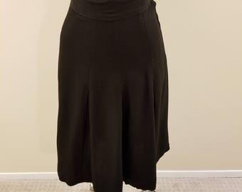 """SALE - Vintage 50s Handmade Pleated Black Rayon Skirt - 26"""" Waist"""