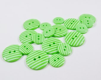 Candy Stripe Buttons - Green Sewing Buttons / Knitting Buttons / Craft Buttons / Button Supplies UK