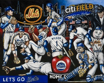 "Baseball Sports Art ""Lets Go Mets"" Print from Thomas Jordan Gallery"