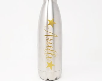 Custom - Personalized 17oz Double Wall Vacuum Insulated Stainless Steel Bottle - Name - Stars - Hydrate - Custom - Bottle - Hydrate -