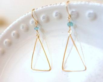Blue Apatite Triangle Earrings / Gold Filled, Gemstone, Drop / Anabel Nove