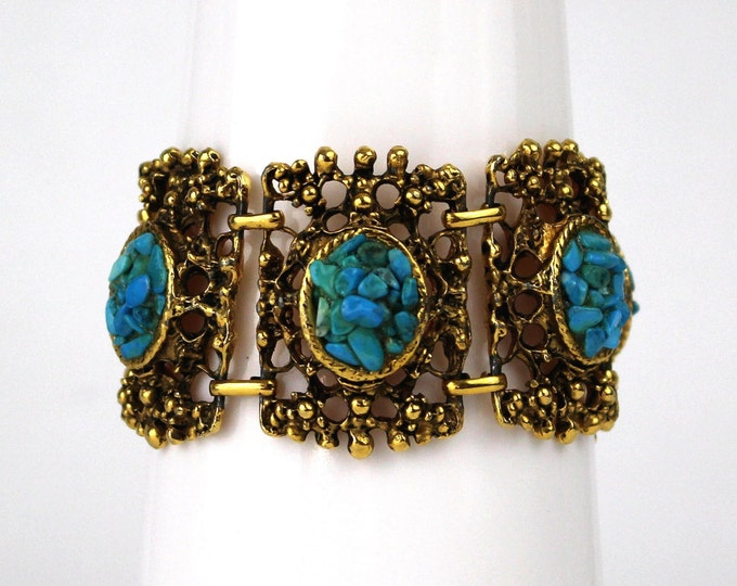 Vintage Gold and Turquoise Statement Bracelet - 70s Boho Turquoise Bracelet - VTG 1970s Large Link Bracelet