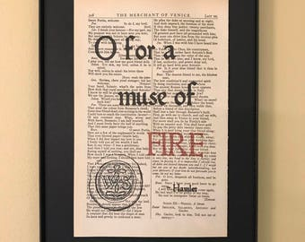 O for a muse of fire - Shakespeare Page Art; Graduation gift; Opening Night Gift