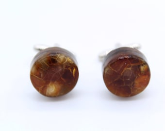 Baltic amber and wood circle cufflinks