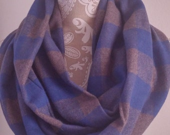 Blue and gray Buffalo Plaid scarf, Flannel scarf. Flannel Infinity Scarf ,warm scarf, Women's Scarves, gifts, Blue scarf, winter scarf