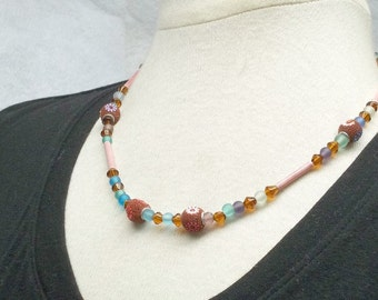 Candy pink purple and blue beaded necklace treasury item