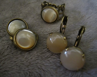 Brass Filigree Adjustable Natural Mother of Pearl Ring and/or 12mm round leverback or Clip On earrings to match