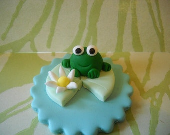 Fondant Edible Frog and His Lilly Pad Edible Cupcake Toppers - Set of 12