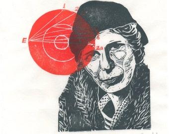 Inge Lehmann and the Earth's Core Linocut - Seismologist, Geophysicist, Woman in STEM Lino Block Portrait, History of Science, Inge Lehmann