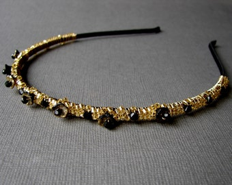 SAMPLE SALE Thin Black and Gold Headband Beaded Diadem Glass Flowers Swarovski® Jet Crystal Wedding Hairpiece Bridesmaid Prom Pageant Prom