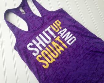 SALE Women's Fitness Tank Top. Workout Tank. Gym Tank Top. Burnout lightweight printed tank. Racerback burnout. Shut Up and Squat. Drop It