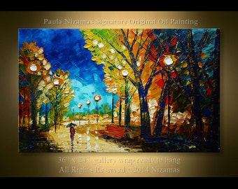 Painting on canvas Autumn Park Palette Knife Landscape art from Nizamas ready to hang