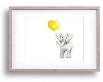 Baby Elephant Nursery Art, Yellow and Grey Nursery, Baby Animal Art, Girl Nursery, Boy Nursery, Balloon, Love, Heart, Childrens Wall Decor