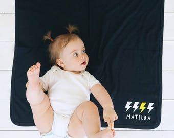 New Baby Blanket- Lightning Bolt Blanket - Black Baby Blanket - Personalised Lightening Bolt Blanket